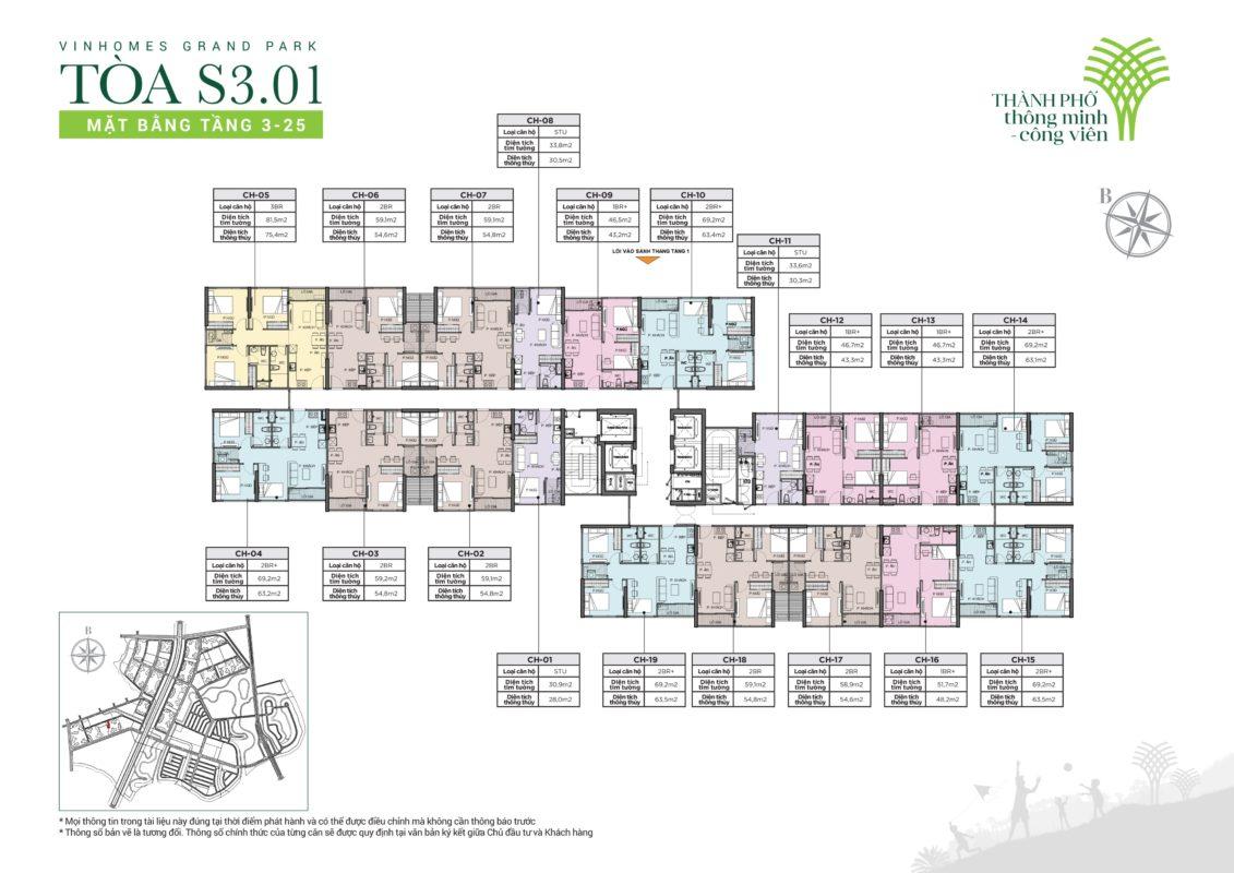 thông tin chi tiết toà S3.01 vinhomes grand Park