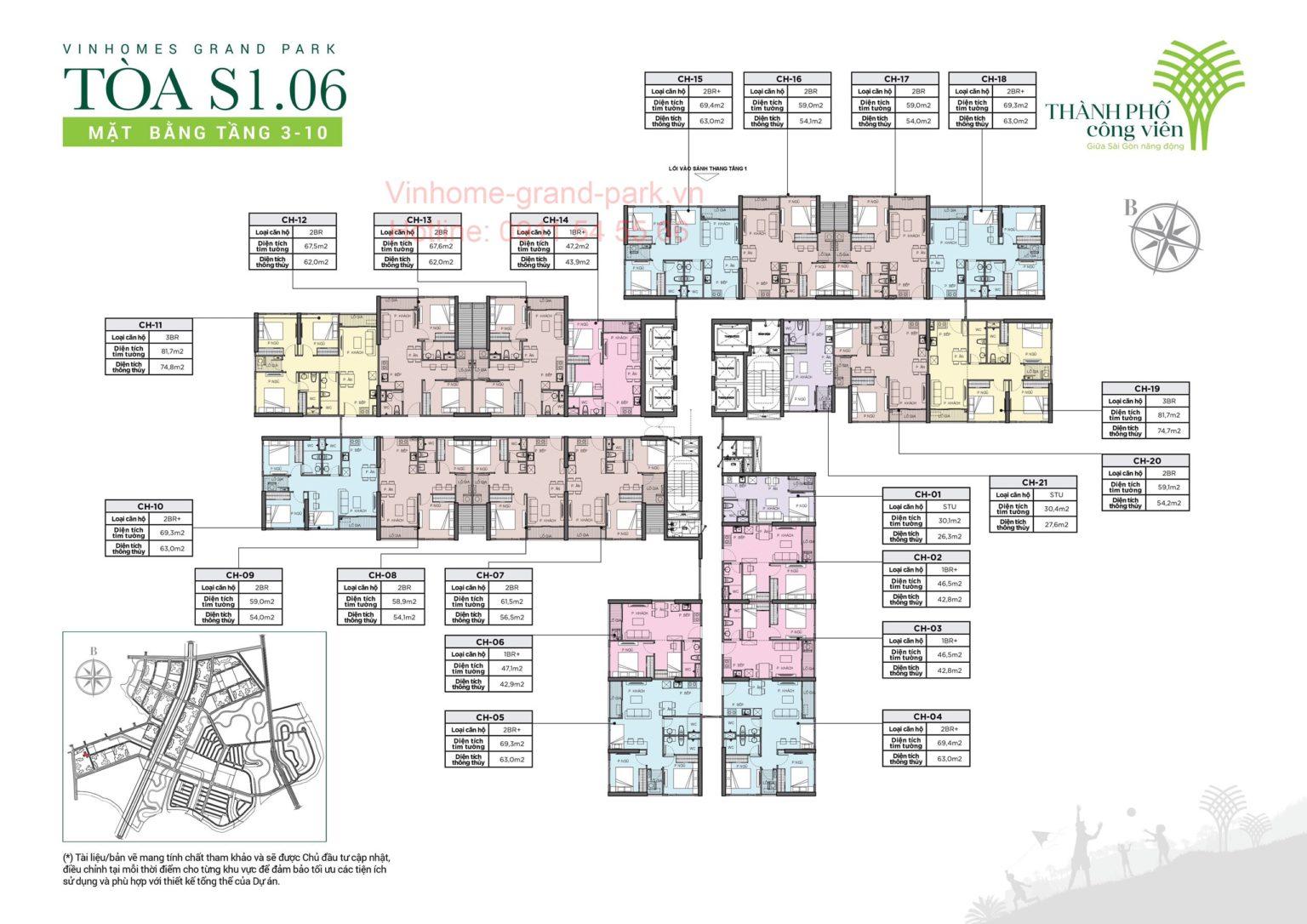 cho thuê căn hộ S1.06 Vinhomes Grand Park 1