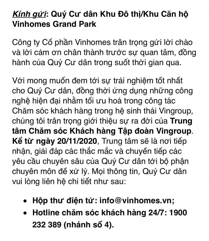 hotline hỗ trợ cư dân vinhomes grand park
