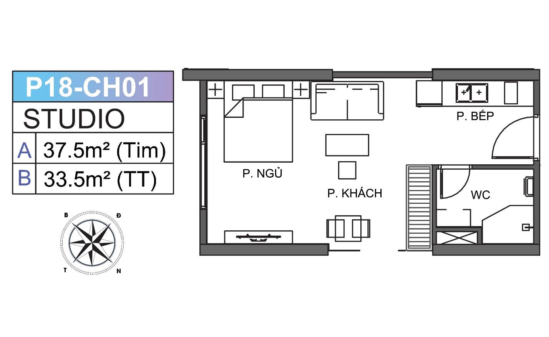 Cho thuê Căn hộ Studio Vinhomes Grand Park có nội thất giá 5tr/tháng