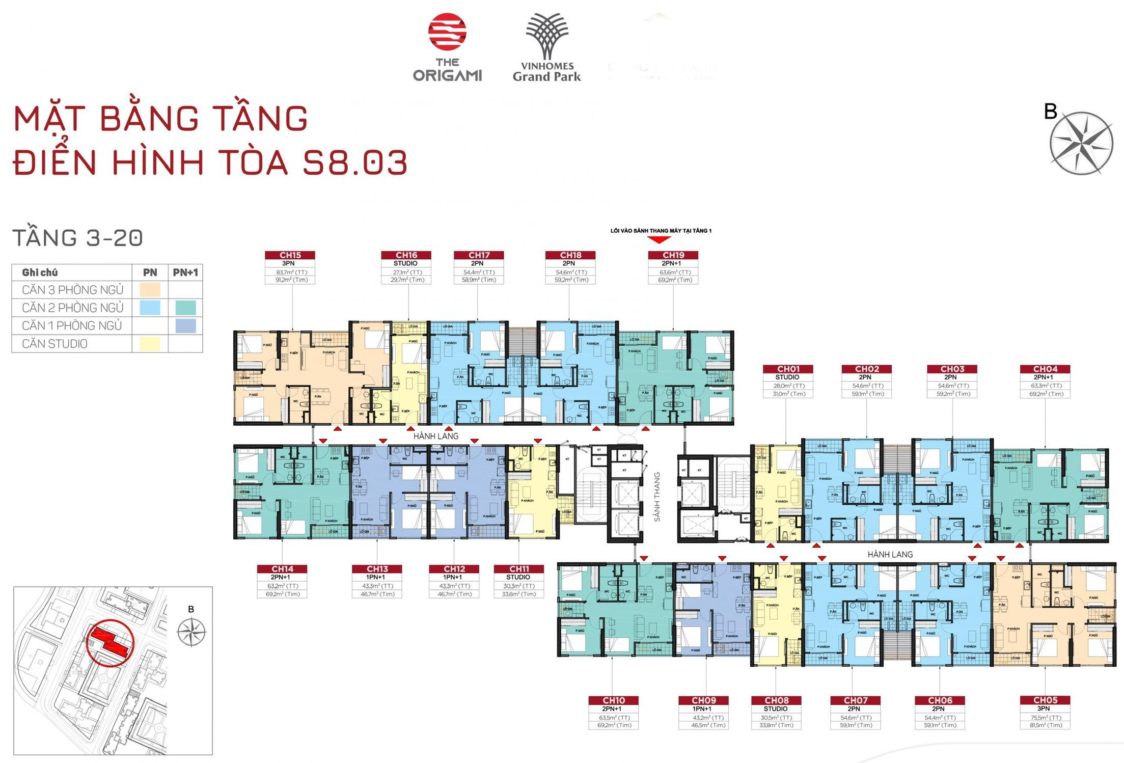 giá cho thuê căn hộ Toà S8.03 Vinhomes Grand Park 1