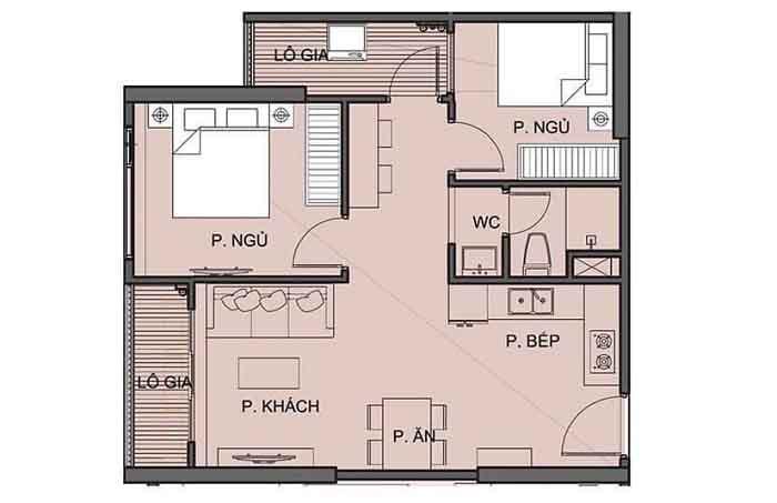 cho thuê Căn hộ 2 phòng ngủ 1 Toilet S5.02 Vinhomes Grand Park